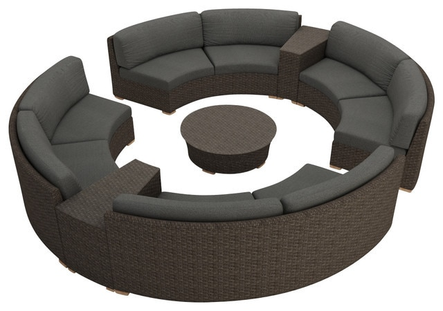 Rattan Furniture Outdoor 7 Piece Round Sectional Sofa Set|rattan .