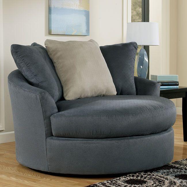 Mindy - Indigo Oversized Round Swivel Chair | Round sofa chair .
