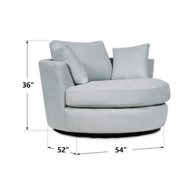 Boyel Living 36 in. Aqua Fabric Swivel Round Barrel Chair Accent .