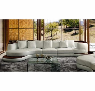 Divani Casa Rodus White Rounded Corner Sectional Sofa by VIG .