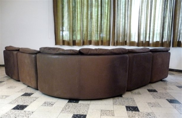 Curved Sectional Corner Leather Sofa by Friedrich Hill for Walter .