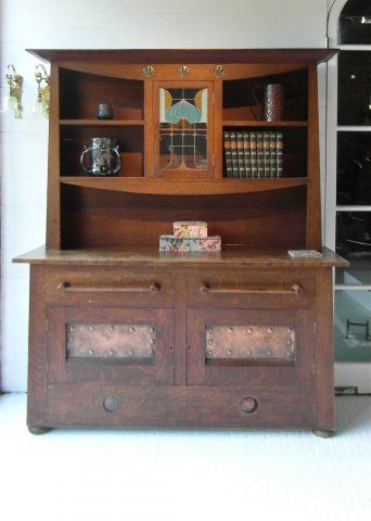 Arts and Crafts superb oak sideboard with Ruskin and copper insets .