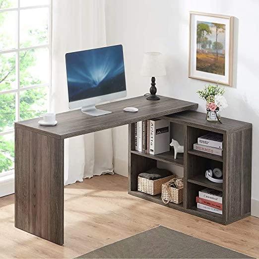 Amazon.com: HSH L Shaped Computer Desk, Rustic Wood Corner Desk .