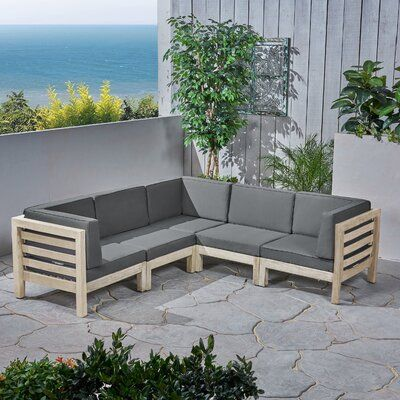 Brayden Studio Kronqui Patio Sectional with Cushions Cushion Color .