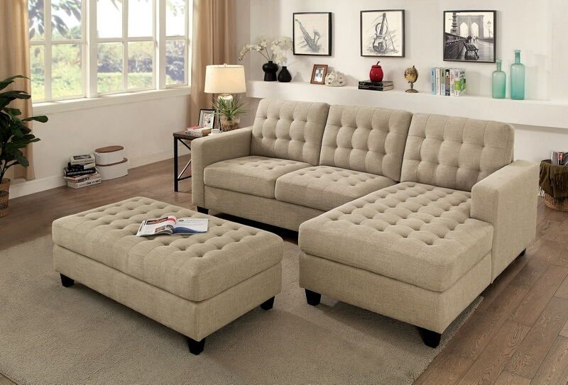 CM6440 3 pc Norma beige linen like fabric sectional sofa set with .
