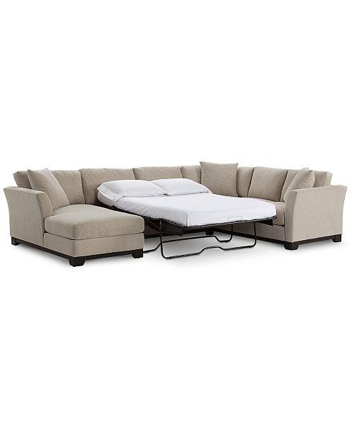"Furniture Elliot II 138"" Fabric 3-Piece Chaise Sleeper Sectional ."