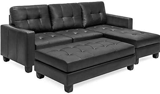 Amazon.com: Convertible Sectional Sofa Couch Leather with Ottoman .