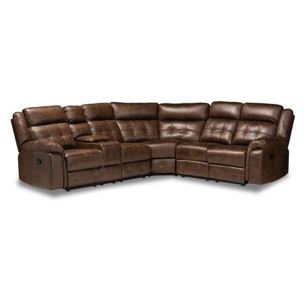 Baxton Studio Vesa 6-Piece Brown Fabric 6-Seater L-Shaped .