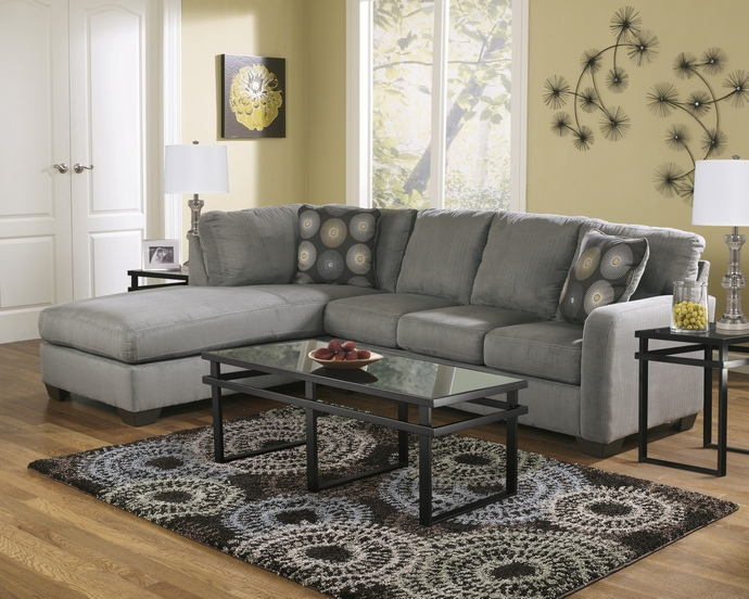 Ashley Furniture 70200-67-16 2 pc zella charcoal plush fabric .