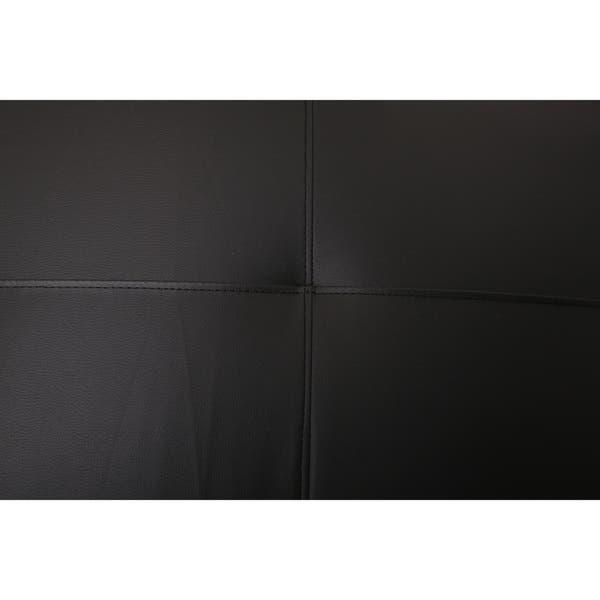 Shop Atlanta Black Faux Leather Convertible Sectional Sofa Bed .