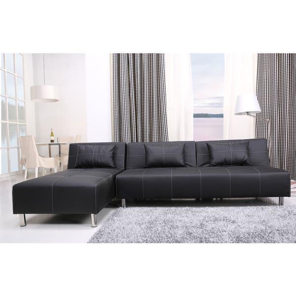 Shop Atlanta Black/ White Stitching Convertible Sectional Sofa Bed .