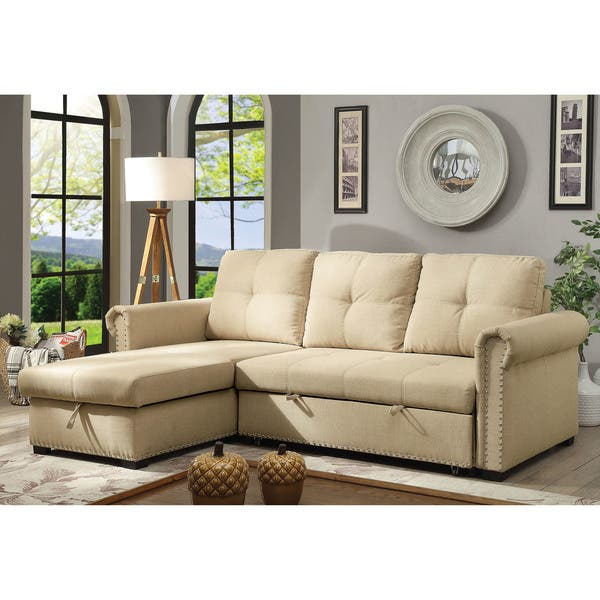 Shop Furniture of America Dell Transitional Beige Sectional Sofa .