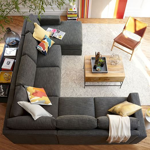 Urban 4-Piece Chaise Sectional | west elm | Living room sectional .