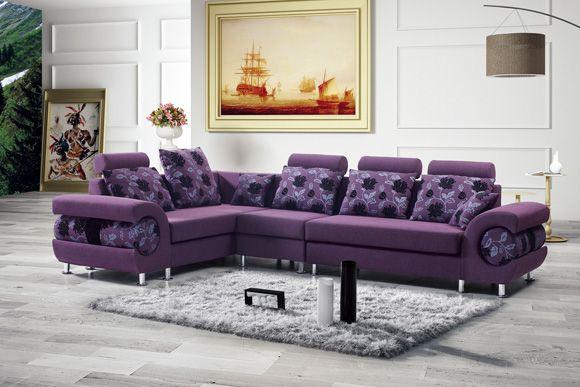 Furniture Ideas, Cool Bangalore Purple Sectional Sofa With Black .