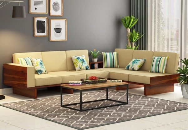 Sectional Sofas At Bangalore in 2020 | Corner sofa design, Wooden .