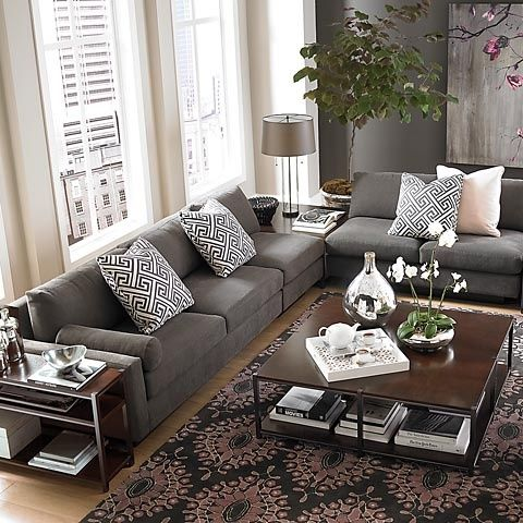 Bassett Furniture: Gray Sofa & Beige Walls : L-Shaped Sectional .