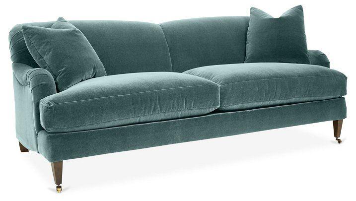Brampton Sofa, Sage Velvet | One Kings Lane | Sofa, Green velvet .