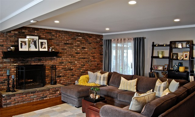 Terrific Loring Sofa Family Room Contemporary with Brick Fireplace .