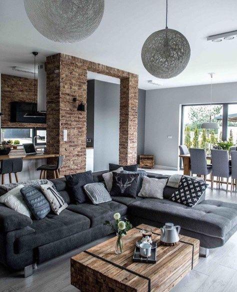decor living room sofa Scandinavian design gray cushion pillows .