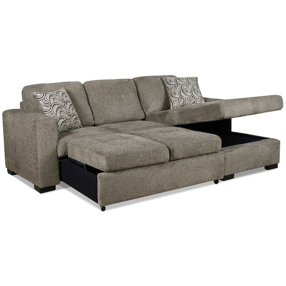 Izzy 2-Piece Chenille Right-Facing Sectional with Sofa Bed .