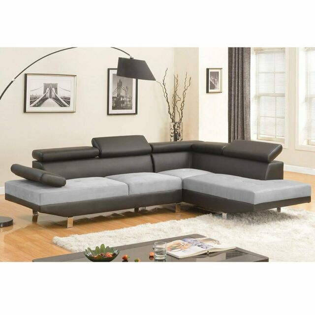 Divani Casa Sansa Modern Grey Leather Sectional Sofa for sale .