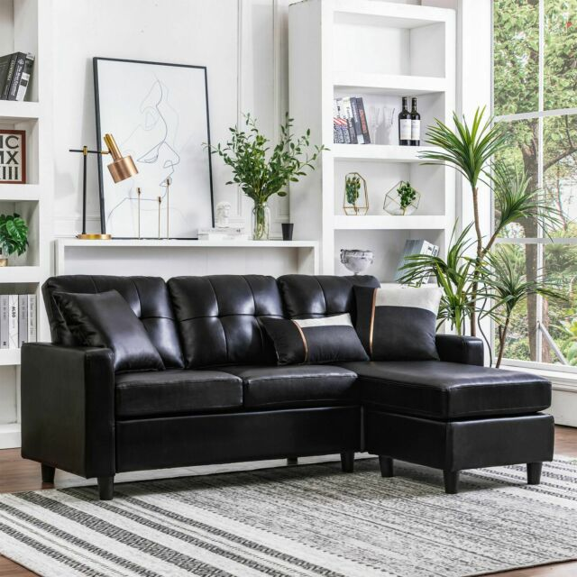 Vogue Bonded Leather Reversible Chaise Sectional Sofa Brown for .