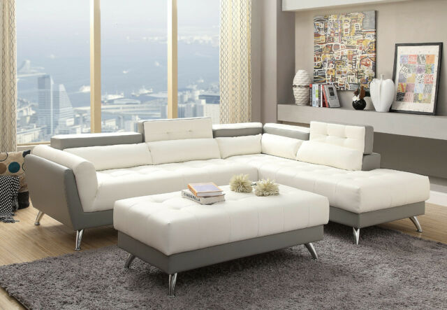 Kiva Bonded Leather Match Sectional Sofa White for sale online | eB