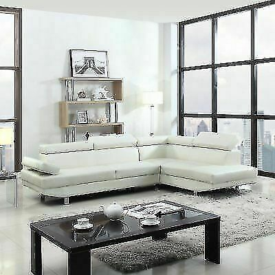 Modern Contemporary White Faux Leather Sectional Sofa, Living Room .