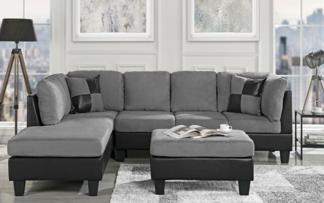 Dannis Saddle Microfiber Reversible Sectional Sofa for sale online .