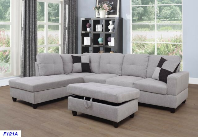 Velago Dark Grey Left-Facing Sectional Sofa - eB