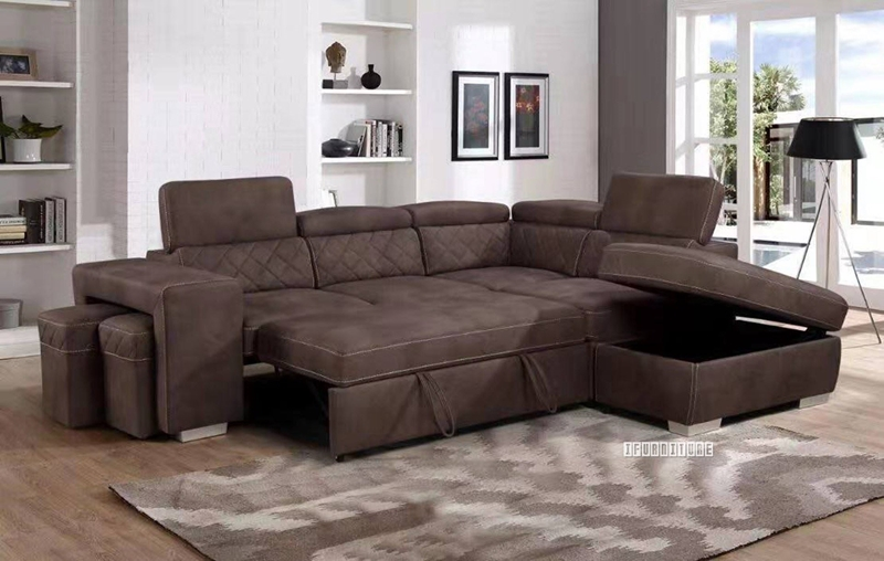 Aria Sectional Sofa/ Sofa Bed with Storage & 2 Ottomans-iFurniture .