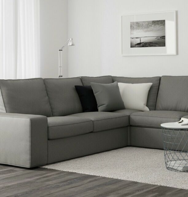 IKEA KIVIK Corner Sectional Sofa Cover Slipcover Borred Gray .