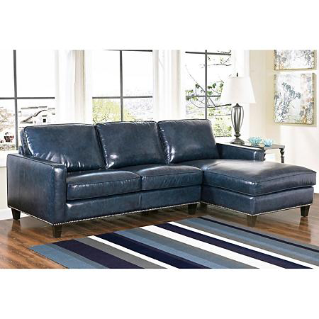 Member's Mark Oliver Top-Grain Leather Sectional Sofa (Assorted .