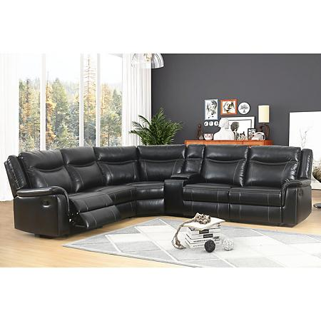 Stanford 6-Piece Sectional Sofa, Black | Abbyson living, Sectional .