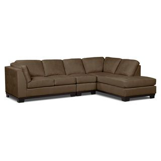Oakdale 3-Piece Microsuede Left-Facing Sectional – Cocoa | The .