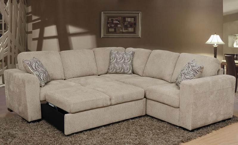 Izzy 2-Piece Chenille Sectional with Left-Facing Sleeper Bed .