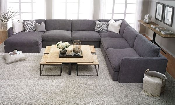 American-made sectional features luxurious 44-inch deep feather .