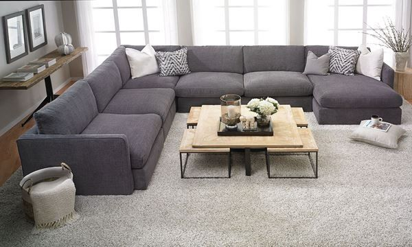 Lincoln Park Handmade Modular Sectional with Left Facing Chaise .
