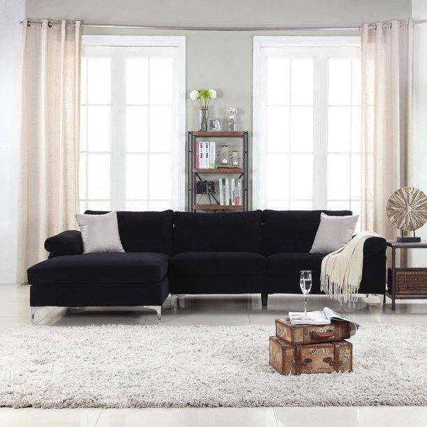 Modern Velvet Large Sectional Sofa - Walmart.com - Walmart.c