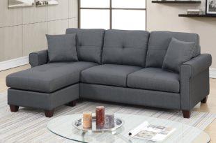 F6571 2 pc leta charcoal glossy polyfiber fabric apartment size .