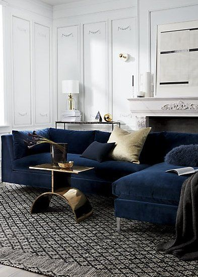 Decker 2-Piece Navy Blue Velvet Sectional Sofa + Reviews | CB2 .