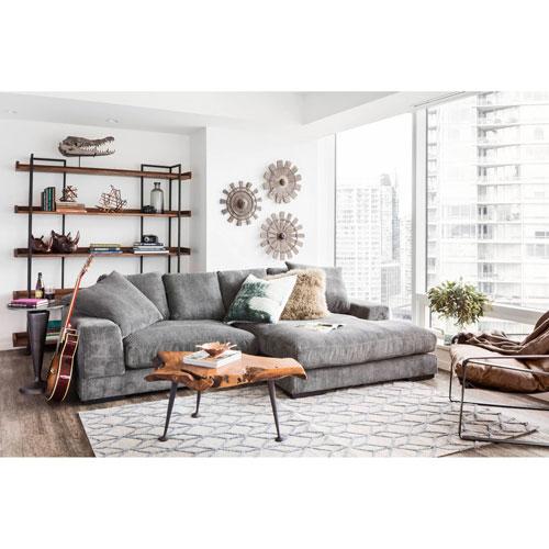 Plunge 2-Piece Polyester Corduroy Sectional Sofa - Dark Grey .