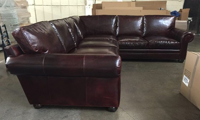 This Langston Leather L Sectional is right at home in San Antonio .