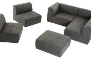 San Antonio Ultra Modern Modular Gray 5-Piece Fabric Sectional .