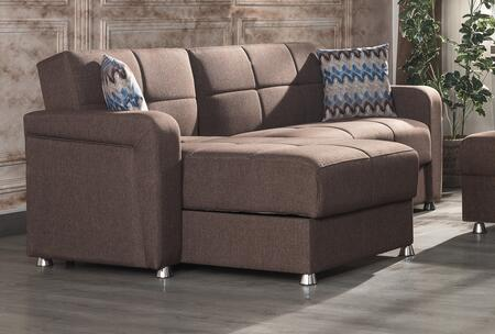 Casamode Harmony Fabric Sectional Sofa HARMONYSECTIONALBROWN Brown .