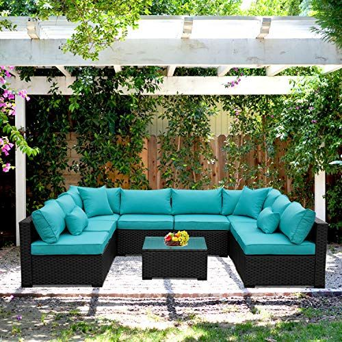 See Outdoor Rattan Sectional Sofa - Patio PE Wicker Conversati .