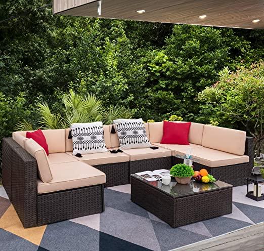 Amazon.com: Devoko 7 Pieces Outdoor Sectional Sofa All-Weather .