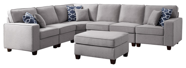 Casanova 7Pc Modular Sectional Sofa Ottoman in Light Gray Linen .