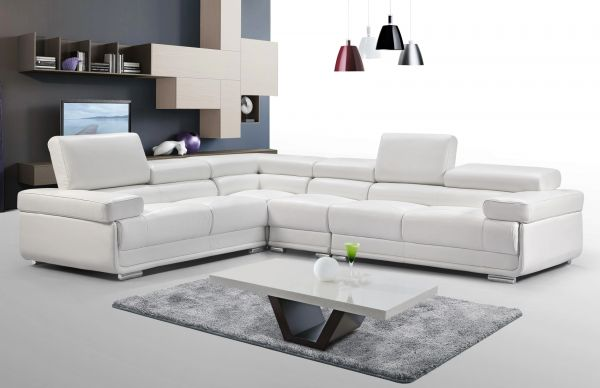 2119 Sectional Sofa Set in Premium White Leather | Esf Furniture .