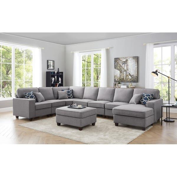 Shop Irma 8-piece Light Grey Linen Modular Sectional Sofa Set .